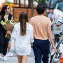 Elizabeth Olsen in Denim Shorts – Out in NYC