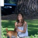 Minka Kelly takes her dog Fred to the park in Beverly Hills - 454 x 555