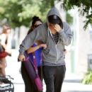 Vanessa Hudgens played a little hide and seek with the photogs using beau Austin Butler as the hide-behind on her way to yoga in Studio City, CA on June 23rd, 2012