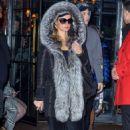 Paris Hilton in faux-fur-lined coat out in Manhattan