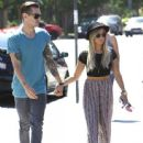 Ashley Tisdale and her fiance Christopher French eat lunch with family at Mo's Restaurant on August 24, 2013 in Burbank, California