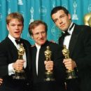 Matt Damon, Robin Williams and Ben Affleck At The 70th Annual Academy Awards (1998) - Press Room