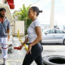 Jennifer Lopez in Spandex at a Gym in Miami