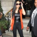 Nicole Scherzinger: exited the Langham Hotel in London