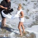 Hailey Baldwin – Photoshoot on the beach for Bare Minerals Cosmetics in Malibu