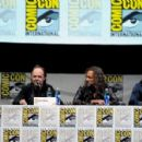 """Musicians James Hetfield, Lars Ulrich, Kirk Hammett and Robert Trujillo speak onstage at """"At The Drive-In With Metallica"""" during Comic-Con International 2013 at San Diego Convention Center on July 19, 2013 in San Diego, California."""
