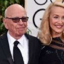 Still going strong! Jerry Hall, 59, hits the Golden Globes red carpet on the arm of 84-year-old Rupert Murdoch - three months after it was revealed they are dating - 11 Jan 2016 - 454 x 208