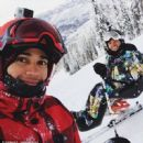 Lewis Hamilton (left) pictured alongside brother Anthony on a skiing trip after winning Sports Personality