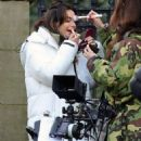 Michelle Keegan – on the set of 'Brassic' in Lancashire - 454 x 777