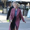 Holly Willoughby in Pink Coat at ITV Studios in London - 454 x 667