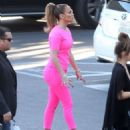 Jennifer Lopez In Pink At American Idol Studios In West Hollywood