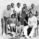 Spencer Tracy and Loretta Young with John Wayne and first wife Josephine & guests at Malibu Beach, 1933 - 454 x 454