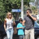 Eddie Cibrian and wife Leann Rimes taking his kids Jake and Mason out to Jinky's Cafe for breakfast in Studio City, CA (August 1)