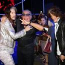 Steven Tyler, Roberto Cavalli and Joe Perry attend the Roberto Cavalli show during the Milan Menswear Fashion Week Spring Summer 2015 on June 24, 2014 in Milan, Italy - 454 x 303