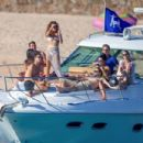 Sarah Hyland – In sizzling high-rise bikini on a boat in Cabo San Lucas - 454 x 303
