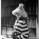 Actress Ursula Thiess in striped terry jacket by Bessie Becker, photo by Regina Relang, 1949