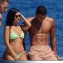Kourtney Kardashian in Bikini on the Boat in Portofino