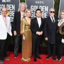 Jim Beach, Brian May of Queen, Lucy Boynton, Rami Malek, Roger Taylor of Queen, and Sarina Potgieter At The 76th Annual Golden Globe Awards - Arrivals - 454 x 362
