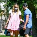 Sophie Turner in Pink Mini Dress and Joe Jonas – Go on a picnic with friends and family in Studio City - 454 x 655