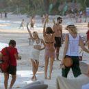 Maya Stepper in White Bikini on the beach in Mexico - 454 x 476