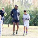 Seal spotted out in Los Angeles watching his kids flag football game Saturday October 15, 2016 - 454 x 353