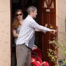 Amy Adams heads to a Mexican food restaurant with fiance Darren Le Gallo and their newborn baby girl Aviana Olea Le Gallo