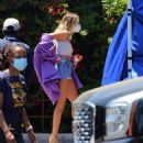 Hailey Bieber – In Daisy Dukes at music video set in Los Angeles
