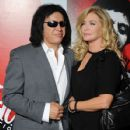 "Gene Simmons and Shannon Tweed arrive at the release of ""Scarface"" On Blu-ray at the Belasco Theatre on August 23, 2011 in Los Angeles, California."
