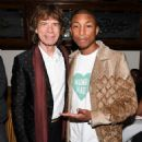 Mick Jagger and Pharrell Williams at Charles Finch and Chanel pre-Oscar dinner - 454 x 568