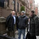 James Caan with Director Brett Ratner and Anton Yelchin on the set of New York, I Love You.