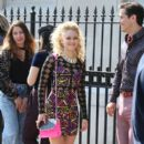 """AnnaSophia Robb and Jake Robinson get prepped to film a scene for """"The Carrie Diaries"""" in New York City"""