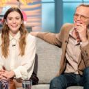 Elizabeth Olsen and Paul Bettany on 'Lorraine' TV show in London - 454 x 344