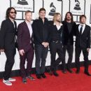 Musicians Franz Stahl, Nate Mendel, Pat Smear, Taylor Hawkins, Dave Grohl, and Chris Shiflett of Foo Fighters attend The 58th GRAMMY Awards at Staples Center on February 15, 2016 in Los Angeles, California. - 454 x 388