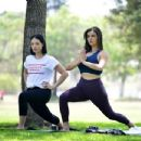Rebecca Black – Doing yoga at the park in Beverly Hills - 454 x 348