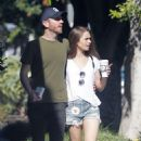 Lily Collins in Jeans Shorts and Charlie Mcdowell – Out in Los Feliz - 454 x 721
