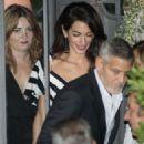 Amal and George Clooney at Gatto Nero in Cernobbio - 454 x 642
