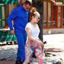 Jennifer Lopez in Leggings Out in New York City - 454 x 635