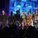 Jason Aldean, Jack White, Daft Punk, Beyonce, Regine Chassagne, Win Butler, and Alicia Keys onstage at the Tidal launch event #TIDALforALL at Skylight at Moynihan Station on March 30, 2015 in New York City. - 454 x 302