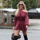 Christine McGuinness in Red Mini Dress – Out in Cheshire - 454 x 660