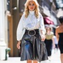 Rita Ora – Wearing a silver Nina Ricci dress in New York City