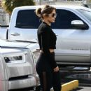 Jennifer Lopez in Black Tights – Heads to the gym in Miami