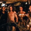 Daniel Day-Lewis as Hawkeye ( Nathaniel Porter), Eric Schweig as Uncas and  Russell Means as Chingachgook in The Last of The Mohicans (1992) - 454 x 303