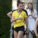 Adriana Lima in Brazil team jersey out in Paris - 454 x 807