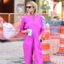 Stella Maxwell in Pink – Out to get a coffee in New York