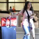 Karrueche Tran in Jeans at LAX Airport in Los Angeles