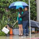 Lea Michele on set of 'Untitled City Mayor Project' in Los Angeles - 454 x 303