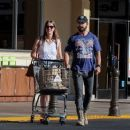 Shia LaBeouf and Mia Goth are seen leaving the market August 30, 2014
