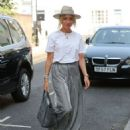 Megan Mckenna stuns in stripes and straw hat as in West London - 454 x 591