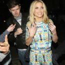 Sarah Harding: leaving the 'Ten - The Hits Tour' after party at Whisky Mist in London