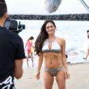 Casey Batchelor in Silver Bikini on the beach in Tenerife - 454 x 757